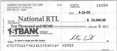 American Right To Life wants you to get your money's worth. National RTL hasn't delivered even a single pro-life justice after receiving 200 million dollars from pro-lifers.  (PRNewsFoto/American Right To Life)