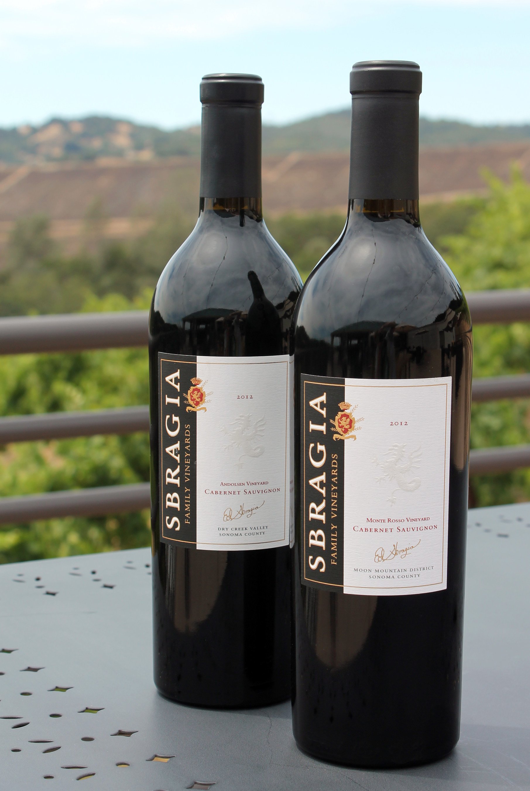 (L-R) 2012 Sbragia Family Vineyards Andolsen Cabernet and 2012 Monte Rosso Cabernet.