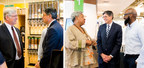Left: MMCDC President Kevin Shipley and Treasury Secretary Jack Lew at Seward Community Cooperative Friendship Store. Right: Front End Manager Vivian Mims, left, and Store Manager Ray Williams, right, with Secretary Lew.