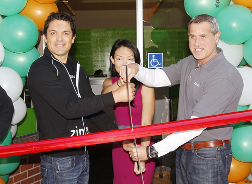 (from left to right) Michael Uribe, general manager, Zipcar San Francisco, along with Jane Kim, San Francisco's District 6 Supervisor and Dan Grossman, Zipcar Regional Vice President, West Coast, cut the ribbon to officially open Zipcar San Francisco's newly expanded office on July 21, 2011.  (PRNewsFoto/Zipcar, Inc., Andy Kuno)