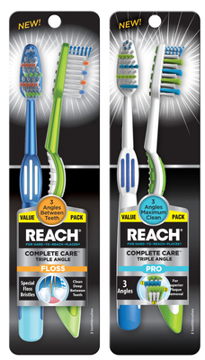 Reach(R) Complete Care(TM) Triple Angle toothbrushes (PRNewsFoto/Dr. Fresh LLC) (PRNewsFoto/Dr. Fresh LLC)