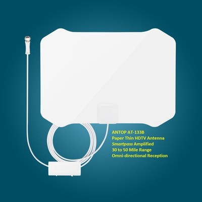 ANTOP AT-133B Paper Thin HDTV Antenna; Smartpass Amplified, 30 to 50 Mile Range, Omni-directional reception