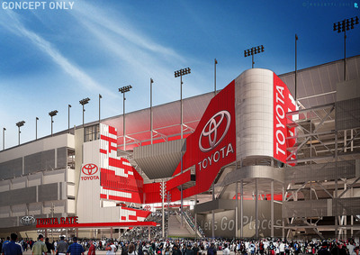 """Toyota becomes the first Founding Partner of DAYTONA Rising, the $400 million renovation of iconic Daytona International Speedway - home of """"The Great American Race,"""" the NASCAR Sprint Cup Series DAYTONA 500(r). (PRNewsFoto/International Speedway Corporation) (PRNewsFoto/INTERNATIONAL SPEEDWAY CORPOR...)"""