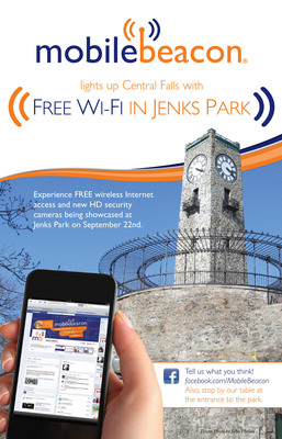 Mobile Beacon Lights Up Jenks Park: A Central Falls Free Wi-Fi Initiative.  (PRNewsFoto/Mobile Beacon)