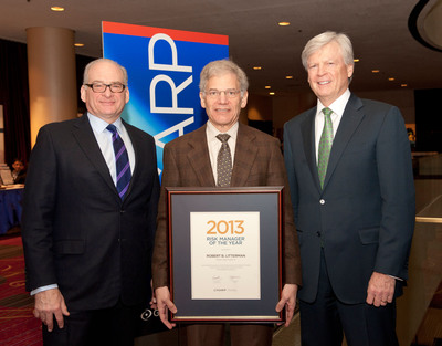 William Martin, Chairman of the Board of Trustees; Robert Litterman, GARP's Risk Manager of the Year; and Richard Apostolik, President and CEO.  (PRNewsFoto/The Global Association of Risk Professionals (GARP))