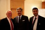 L-R Joesph J. Battaglia, President & CEO,  Mr. Anand Mahindra, Chairman & Managing Director, Mahindra Group and Mr. SP Shukla, Member of GEB and Group President Aerospace and Defence making the announcment in Paris.