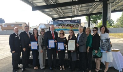 Huntington Beach City School District Administrators, Board, Local Elected Officials, and OpTerra Team celebrate completion of Phase II of STEM and Sustainability project.