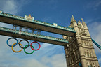 The Olympic Rings hang proudly from London's Tower Bridge.  (PRNewsFoto/VisitBritain)