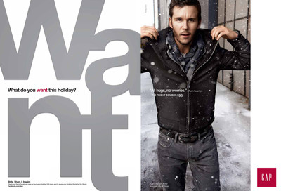 "Gap ignites the season of giving with the help of folks like Ryan Kwanten and Lauren Bush. Gap invites shoppers to indulge in the season's most wanted styles while giving back. ""Like"" Gap's videos vignettes of the influential cast opening up about their personal causes, like True Blood's Ryan Kwanten [pictured here] wearing The Flight Bomber ($98) and supporting City of Hope, to trigger a $1 donation and get a special treat: a 30% one regularly priced item.  (PRNewsFoto/Gap Inc.)"