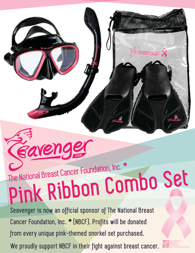 Seavenger's pink NBCF Snorkel Set consists of four items, mask, fins, snorkel and carrying bag. ...