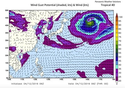 Wind Gust Potential (shaded, kts) & Wind (kts) (PRNewsFoto/Panasonic Weather Solutions)