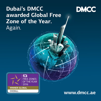 Dubai's DMCC awarded 'Global Free Zone of the Year 2016' for the second year running (PRNewsFoto/DMCC)