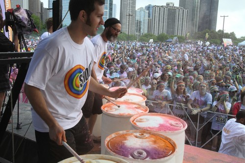 On June 8, during The Color Run(TM) in Chicago, the Shout(R) Drumline performed to rally and motivate the runners. (PRNewsFoto/SC Johnson)