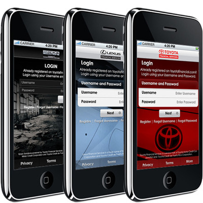 Toyota Financial Services new app gives Toyota, Lexus and Scion customers an app that reflects the look and feel of their vehicle's brand.