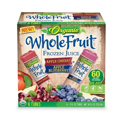 Apple Cherry and Apple Blueberry Whole Fruit Organic Juice Tubes