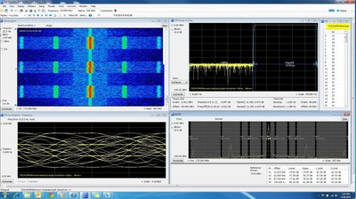 The HCPM capture shows a spectrogram, Adjacent Channel Power Ratio, Eye Diagram, symbol table and the power envelope measurements of a P25 Phase2 HCPM signal to be tested for compliance to the TIA-102 standard. (PRNewsFoto/Tektronix, Inc)
