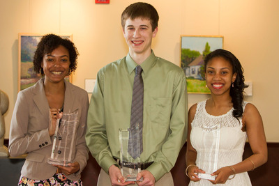 2013 Mitchell-Beall-Rosen Memorial Scholarship Contest winners (left to right): Taylor Reeves, Ian Duffy and Courtney Jones. Not featured: Alexandra Berges, Sophie Roytblat, Robert Stancil, III, and Eric Sturm.  (PRNewsFoto/NASA Federal Credit Union)