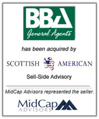 MidCap Advisors LLC advised Buckingham Badler Associates (BBA), a New York City-based full service general insurance agency, in connection with the sale of its business to Scottish American Capital. (PRNewsFoto/MidCap Advisors, LLC) (PRNewsFoto/MIDCAP ADVISORS, LLC)
