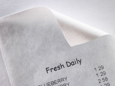 Appleton has embedded visible red fibers into its BPA-free thermal receipt paper to make it easy to distinguish from other receipt papers that may contain the controversial chemical.  (PRNewsFoto/Appleton)