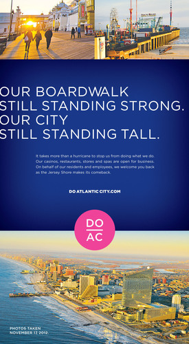 Atlantic City defends the (still standing) world-famous Boardwalk with a full page ad in the New York Times on Wednesday, November 28.  (PRNewsFoto/Atlantic City Alliance)