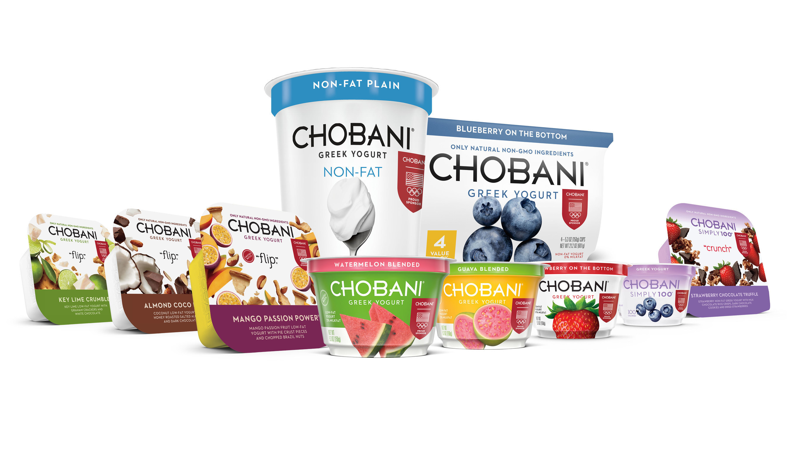 """Chobani products across multiple product lines including Chobani """"Flip""""(tm) and Chobani Simply 100(r) products will adorn the official Team USA shield and Olympic rings on pack to denote the partnership."""