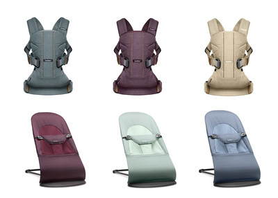 Explore the new Woods Collection from BabyBjörn, including: the Baby Carrier One in Pine Green, Blackberry Red and Birchwood Beige; the Bouncer Balance Soft in Plum Red, Frost Green and Fog Blue.