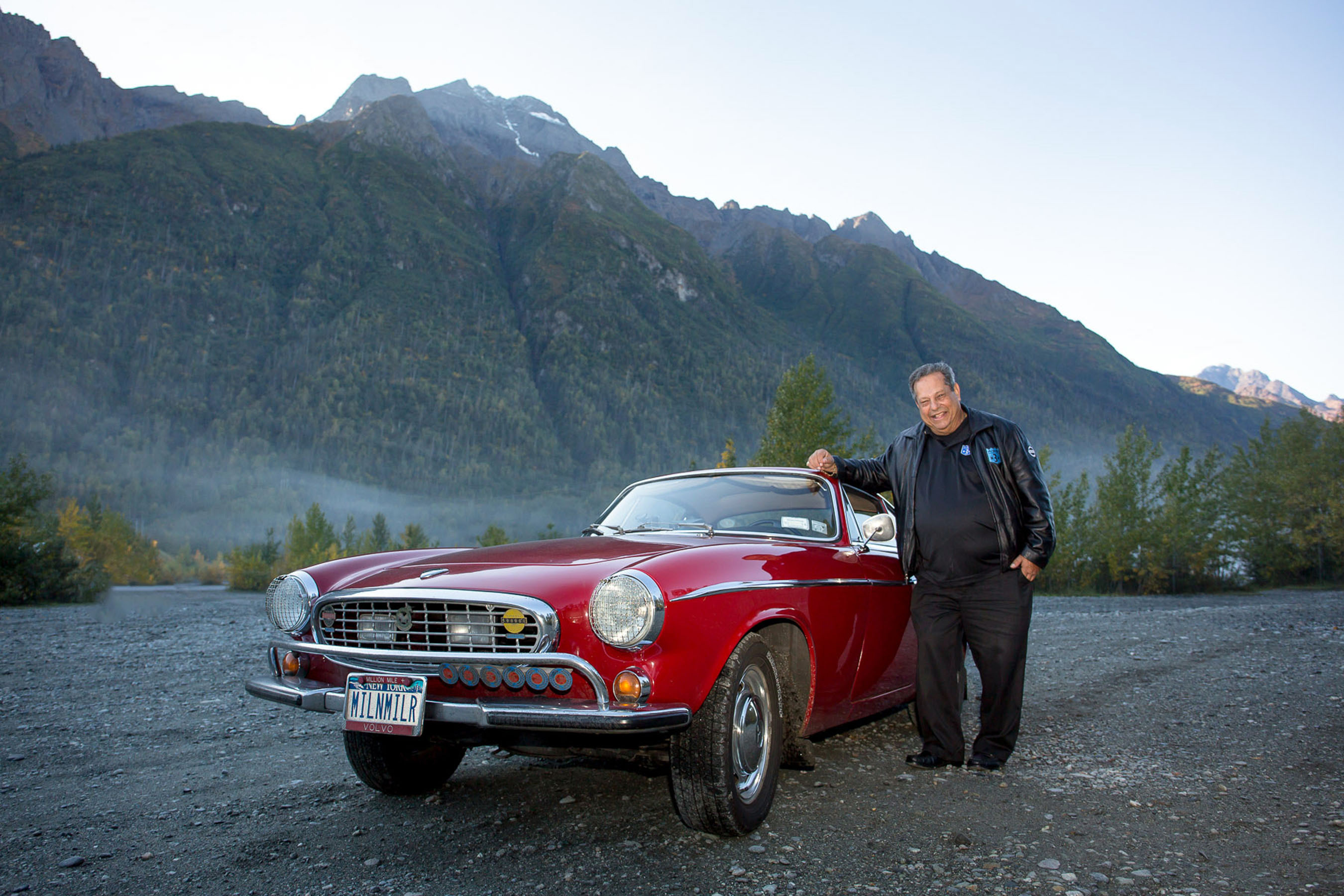 Irv Gordon nears the 3 million mile mark in his Volvo P1800 on the Old Glenn Highway north of Anchorage. Today, Gordon will reach the historic milestone on the Seward Highway along the Turnagain Arm. (PRNewsFoto/Volvo Cars of North America) (PRNewsFoto/VOLVO CARS OF NORTH AMERICA)
