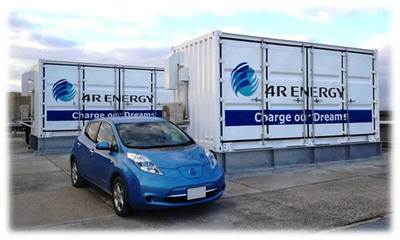 First Large-Scale Power Storage System Made from Reused EV Batteries.  (PRNewsFoto/Sumitomo Corporation)