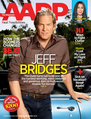 Jeff Bridges on the cover of AARP The Magazine. (PRNewsFoto/AARP)