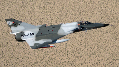 ATAC Kfir flying in support of Navy Topgun.  (PRNewsFoto/ATAC (AIRBORNE TACTICAL ADVANTAGE COMPANY))