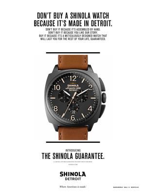 THE SHINOLA GUARANTEE: A limited lifetime warranty on every watch we make. (PRNewsFoto/Shinola) (PRNewsFoto/SHINOLA)