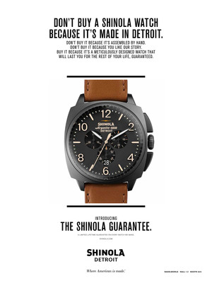 THE SHINOLA GUARANTEE: A limited lifetime warranty on every watch we make.