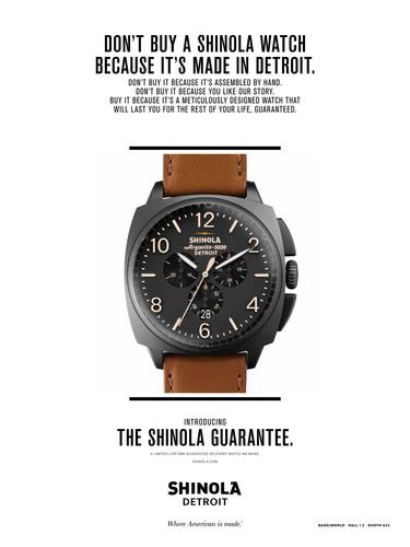 THE SHINOLA GUARANTEE: A limited lifetime warranty on every watch we make. (PRNewsFoto/Shinola) ...