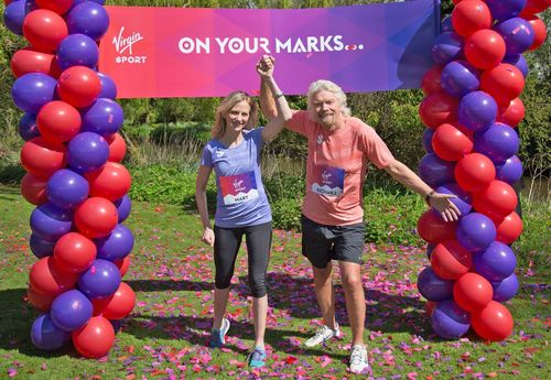 The Virgin Group has today announced the formation of Virgin Sport, an active lifestyle company creating unique fitness events and programmes. Pictured are Sir Richard Branson and Mary Wittenberg. Mary will be leaving the New York Road Runners to join Virgin Sport as Global CEO. (PRNewsFoto/Virgin Group)