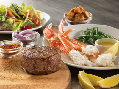 Steak & Snow Crab Combo: Outback's signature sirloin or signature filet paired with succulent Snow Crab with a choice of one Outback side or salad starting at just $13.99. Price and participating may vary by restaurant. Available for a limited time only.  (PRNewsFoto/Outback Steakhouse)