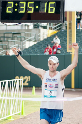Justin Gillette of Goshen, Ind. is the top male finisher in the St. Jude Memphis Marathon Weekend presented by Juice Plus(R). The event held on Saturday, Dec. 1, saw a record 18,500 registrants and raised a record $5.7 million for St. Jude Children's Research Hospital, the sole charity of the event.  (PRNewsFoto/St. Jude Children's Research Hospital)