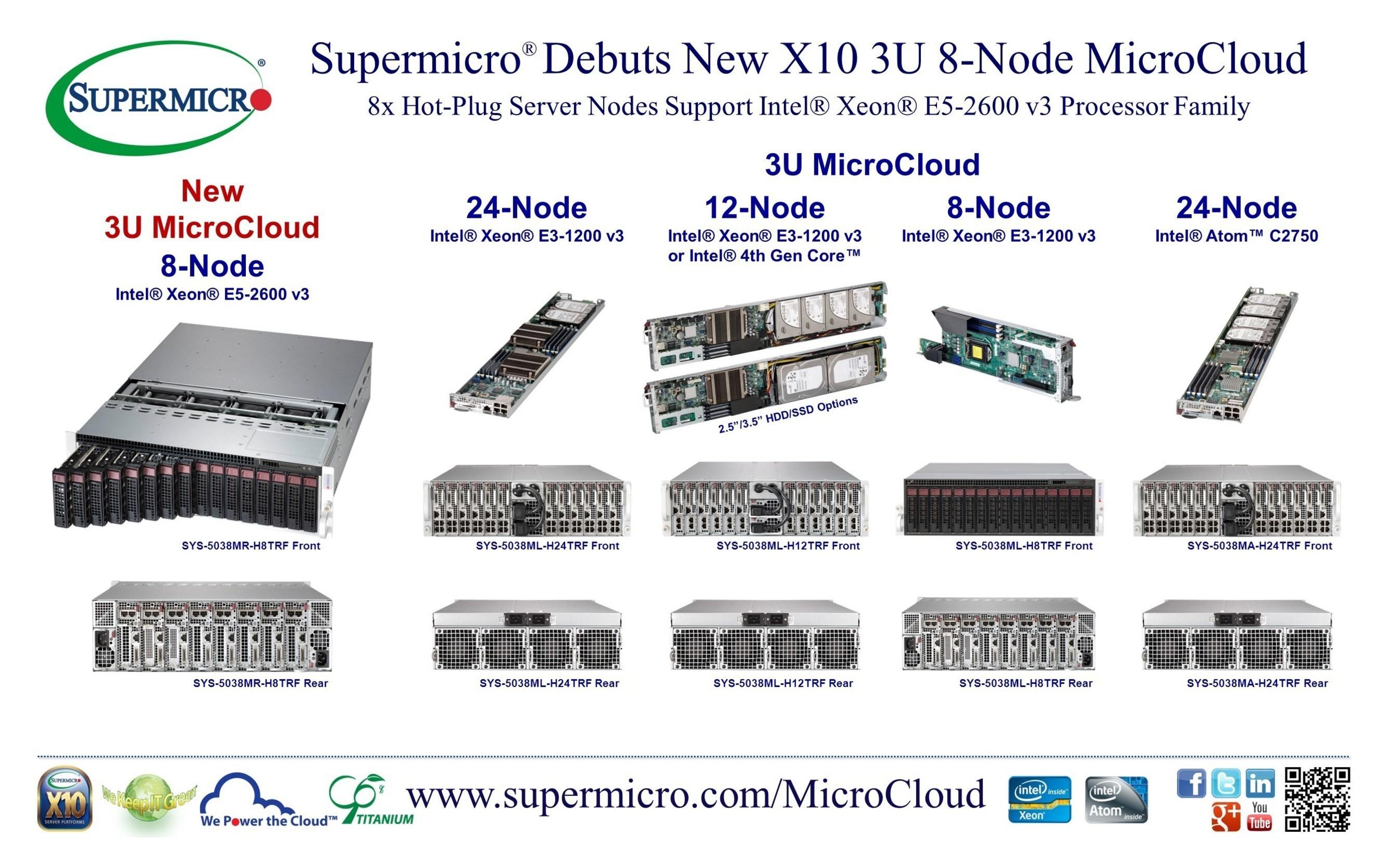 Supermicro® bringt neue MicroCloud-Lösung X10 3U mit 8 Hot-Plug-Server-Nodes und Unterstützung der