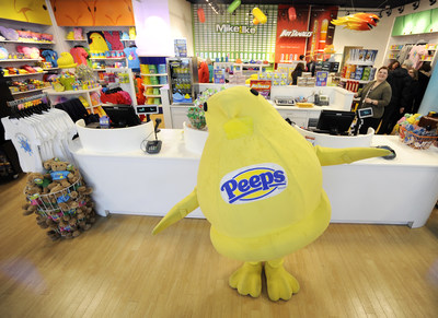 The PEEPS Chick strikes a pose during the PEEPS & COMPANY grand opening, on Wed., Dec. 2, 2015 in Center Valley, Pa. (Michael Perez/AP Images for Just Born Quality Confections)