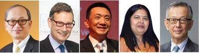 (From left) Albert Cheng, Advisor to the World Gold Council, Far East (WGC); James Courage, former Chief Executive of Platinum Guild International (PGI); Lin Qiang, President and Managing Director of the Shanghai Diamond Exchange (SDE); Nirupa Bhatt, Managing Director of Gemological Institute of America (GIA) India and the Middle East; and Yasukazu Suwa, Chairman of Suwa & Son, Inc in Japan