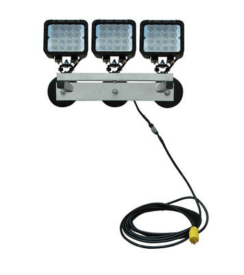 The WAL-M-3X48LED-120 LED work light from Larson Electronics is capable of illuminating an area 675 feet in length by 450 feet in width with 8,640 lumens of brilliant illumination. This compact 120 volt work light comes attached to an aluminum bracket equipped with three 200 lbs grip magnetic feet that allows operators to easily mount this unit to any ferrous metallic surface. This light can be mounted overhead, on tank walls etc and will stay firmly in place. This unit includes a waterproof step down transformer to operate the low voltage LED light emitter off standard 120V current.  (PRNewsFoto/Larson Electronics)