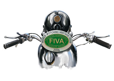 FIVA's World Motoring Heritage Year logo for motorcycles, soon to be available as stickers to the general public.