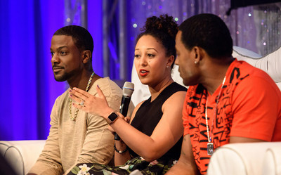 "L-R: Actor Lance Gross, ""The Real"" talk show co-host Tamera Mowry-Housley, and actor Lamman Rucker participate in a panel discussion March 5, 2016 during Disney's Dreamers Academy with Steve Harvey and Essence Magazine at Epcot in Lake Buena Vista, Fla. The ninth annual event March 3-6, 2016, is a career-inspiration program for distinguished high school students from across the U.S. (Todd Anderson, photographer)"