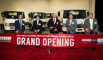 Hino management and esteemed guests during the ribbon cutting ceremony.  (Ceremony moved inside due to rain!)  L to R:  Rob Donahue, Dealer Principal - Donahue Truck Sales; Koichi Ojima, Executive Vice President - Hino Motors Limited, Mayor Paul S. Leon - City of Ontario; Yoshinori Noguchi, CEO & President -  Hino Trucks, George Daniels, SVP Sales & Customer Support - Hino Trucks
