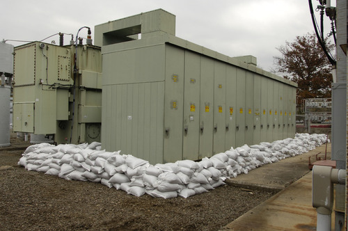 To prepare for the potential for severe flooding that could result from Hurricane Sandy, JCP&L personnel have placed more than 500 tons of sandbags at facilities that include the Morristown Substation, shown here.  (PRNewsFoto/FirstEnergy Corp.)