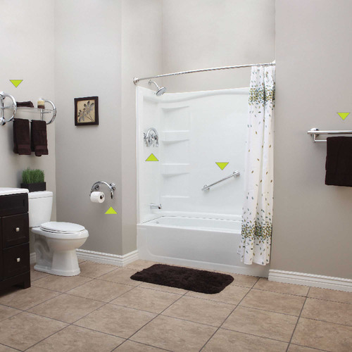 Installing safety grab bars in several strategic areas throughout a bathroom can help prevent falls and help ...