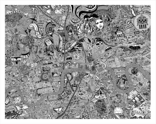 'London Town' by British Artist Fuller, aka Gareth Wood. The original art work is hand drawn using black ink on cotton archival board and measures 92cm x 116cm. The work is a mesmerising kaleidoscope to our association with youth, adolescence and progress into adulthood. Fuller lived, breathed and morphed into the capital to channel its character onto the map. (PRNewsFoto/British artist Fuller) (PRNewsFoto/British artist Fuller)