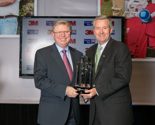 3M Foundation President Ian Hardgrove accepts Spirit of America award from United Way Worldwide President and ...