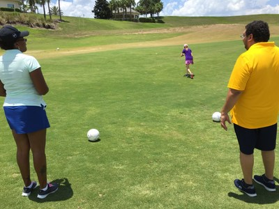 Veterans recently played a game of footgolf with Wounded Warrior Project in Orlando, Florida on a hot summer day.