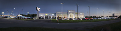 A panoramic view of Kolosso Automotive of Appleton illuminated by the new energybank model T high-performance LED exterior fixture. The project reduced energy costs by 70% and increased illumination by 300%. energybank is LED Done Right. http://www.energybankinc.com