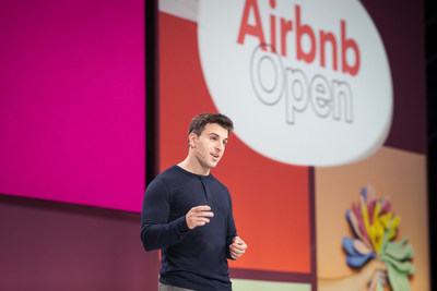 Airbnb CEO Brian Chesky greets 5,000 Airbnb hosts from 110 nationalities attending this year's Airbnb Open in Paris